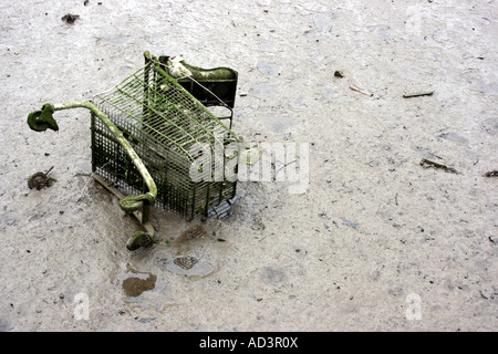 Shopping trolley lying in the mud in the River Teifi in Cardigan, Wales - Stock Photo
