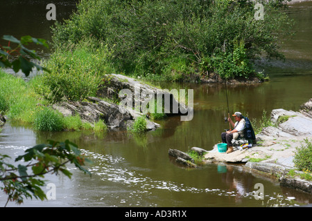 Fishing in the River Teifi at Cenarth, Carmarthenshire, South Wales - Stock Photo