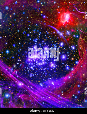 This artist's impression shows how the Arches star cluster appears from deep inside the hub of our Milky Way Galaxy.
