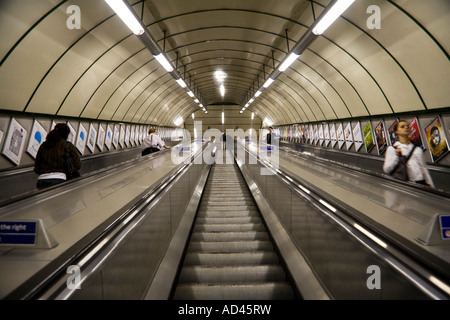 Escalators in a subway station, London, UK, Europe - Stock Photo