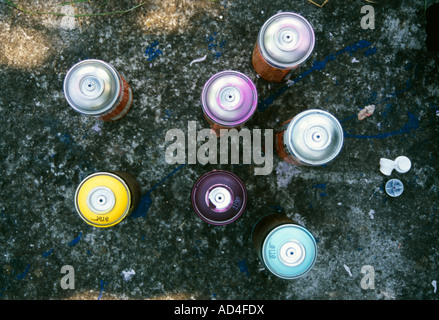 Cans of spray paint from above - Stock Photo
