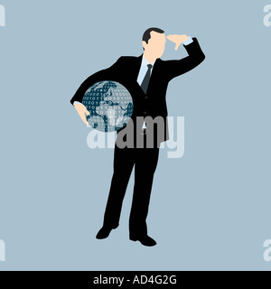 A businessman holding a globe of the world and looking into the distance - Stock Photo