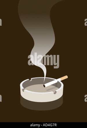A cigarette burning in an ashtray - Stock Photo