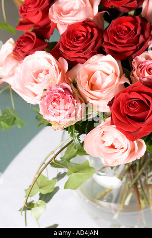 A bouquet of red and pink roses in a vase on a table - Stock Photo