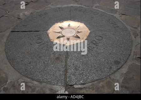 Point zero marks the spot from which all road distances are measured in france, shot in paris, france - Stock Photo