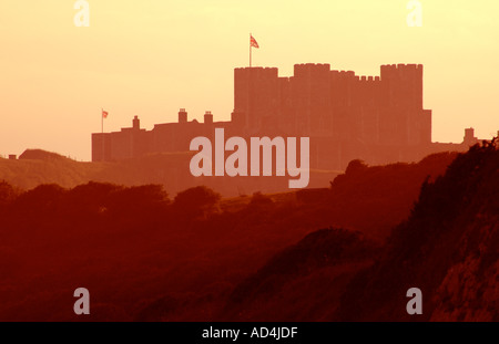 Sunset, Dover Castle, Kent, Dover, England, UK, GB. - Stock Photo