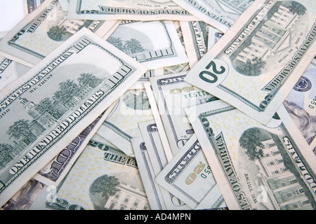 A pile of US bank notes - Stock Photo
