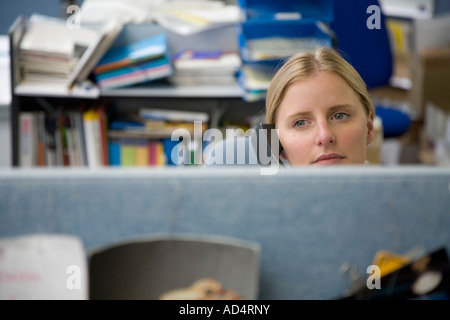 A woman using a phone in an office cubicle - Stock Photo