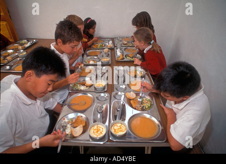 Group of multiracial junior pupils having formal healthy balanced lunch in school canteen - Stock Photo