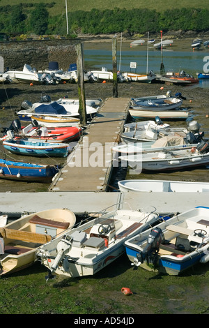 Salcombe Devon UK Seaside harbour with small leisure boats at pontoon - Stock Photo