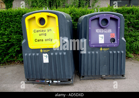 Community recycling bins for cans and mixed glass in Newport South Wales UK - Stock Photo