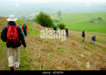 Guided walking group descending on footpath from summit of Skirrid Fawr mountain Abergavenny Monmouthshire South - Stock Photo