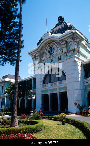 French inspired fin de siecle architecture of the Central Railway Station Maputo Mozambique southern Africa - Stock Photo