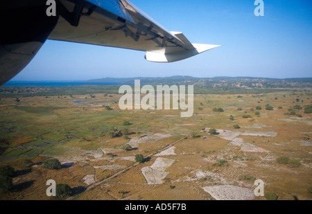 View from light airplane coming in to land at Inhaca Island Maputo Mozambique southern Africa - Stock Photo