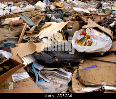 waste products in landfill climate change pollution fly tipping - Stock Photo