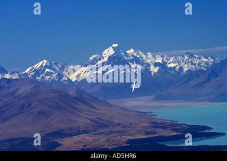 Aoraki Mt Cook Lake Pukaki and Glider Mackenzie Country South Island New Zealand - Stock Photo