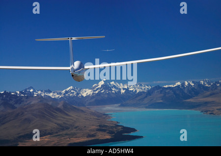 Glider Lake Pukaki and Aoraki Mt Cook Mackenzie Country South Island New Zealand - Stock Photo