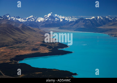 Lake Pukaki Aoraki Mt Cook and Glider Mackenzie Country South Island New Zealand - Stock Photo