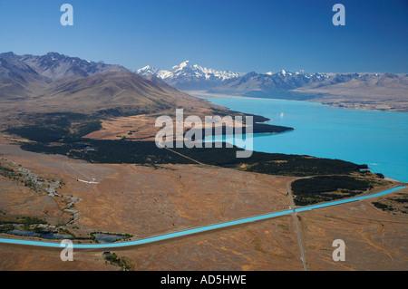 Lake Pukaki Aoraki Mt Cook Pukaki Canal and Glider Mackenzie Country South Island New Zealand - Stock Photo