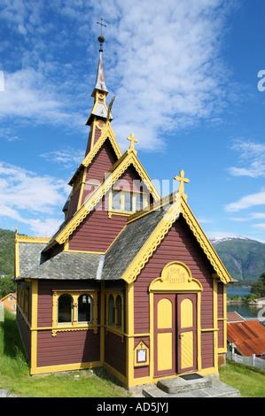 The English Church or the Church of St Olav Balestrand Sogn og Fjordane Norway - Stock Photo
