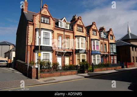 Row of Victorian brick terraced houses , Bath Street, Aberystwyth Ceredigion West Wales - Stock Photo