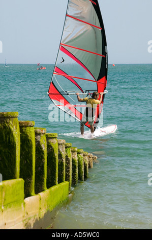 Windsurfer off Eastbourne beach during Eastbourne Extreme sports event - Stock Photo