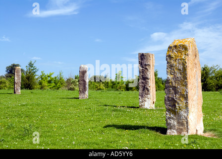 The Ardington and Lockinge Millennium Sundial and Solar System stone circle and woodland Oxfordshire The Millennium - Stock Photo