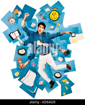 Collage of harried man surrounded by clocks - Stock Photo