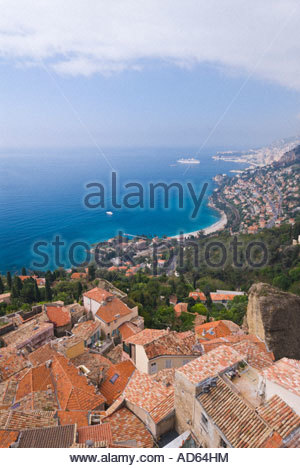 Elevated view of the village of Roquebrune with Monaco in the far distance, Cote D'Azur, France - Stock Photo