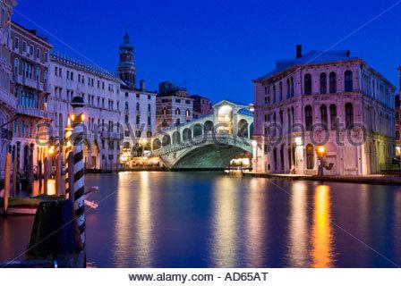 The Rialto bridge at night, Venice, Italy - Stock Photo
