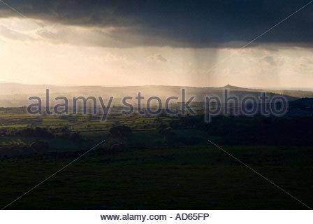 Storm passing over Brentor church, Dartmoor National Park, Devon - Stock Photo