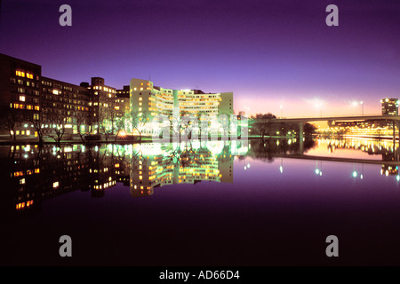 SWEDEN STOCKHOLM OFFICE BUILDINGS LIGHTS ON KINGS ISLAND KUNGSHOLMEN REFLECTING IN WATER  - Stock Photo
