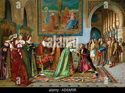 Columbus brought in chains to King Ferdinand and Queen Isabella by Bobadilla 1500. Color lithograph - Stock Photo