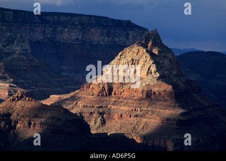 Sunlight on the Vishnu Temple from Grandview Point South Rim Grand Canyon National Park Arizona - Stock Photo
