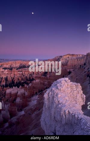 Evening moonrise over Bryce Canyon Bryce Canyon National Park UTAH - Stock Photo