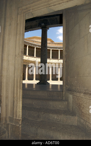 Steps to the Circular Courtyard in the Palacio de Carlos V (Charles V Palace) Alhambra, Granada Andalusia,Southern - Stock Photo