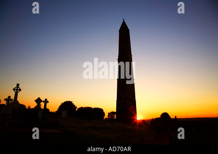 St Declan's 5th Century monastic site, With Round Tower in Ardmore, County Waterford, Ireland - Stock Photo