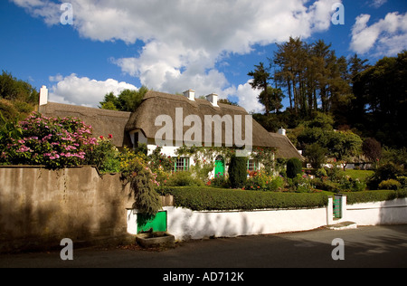 A Thatched Cottage and Garden in the village of Stradbally, The Copper Coast, County Waterford, Ireland - Stock Photo