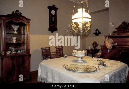 RUSSIA ST PETERSBURG WRITER DOSTOIEVSKY APARTMENT MRS POPOVSKA HEAD OF MUSEUM SITTING AT HIS DINING TABLE MR - Stock Photo