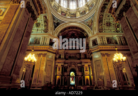 RUSSIA ST PETERSBURG ST ISAAC CATHEDRAL BUILT IN XIXTH CENTURY BY FRENCH ARCHITECT MONTFERRAND VIEW OF THE DOME - Stock Photo