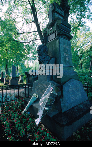 RUSSIA ST PETERSBURG THE ARTISTS CEMETERY WRITER FEDOR DOSTOIEVSKY GRAVE - Stock Photo