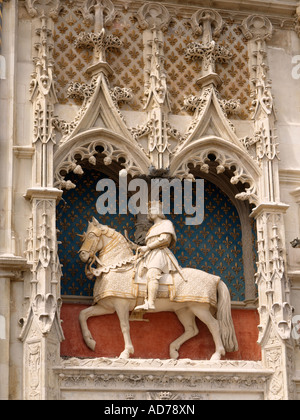 King Louis XII statue on the facade of the Blois chateau castle Loire Valley France - Stock Photo