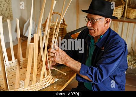 basket maker in open air museum in Tefia Fuerteventura Kanarische Inseln - Stock Photo