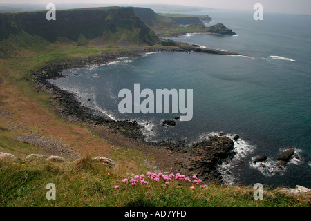 The view from the Causeway Coast Way path of the blue water of the inlet and headland to the east of the causeway - Stock Photo