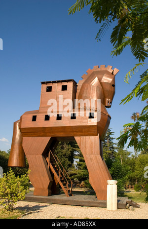 Wooden Trojan horse replica at ancient Troy - Stock Photo