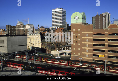 trains leaving and entering leeds city station in the centre of leeds yorkshire uk - Stock Photo