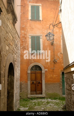 historic ambiance of the charming and much visited  hilltop town of Visso in The Sibillini National Park,Le Marche,Italy - Stock Photo