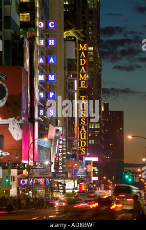 Theatre District including Madame Tussaud's wax museum 42nd Street New York City - Stock Photo