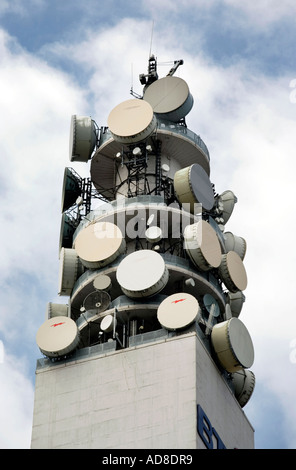 Communications devices on top of the BT Tower in Birmingham UK - Stock Photo