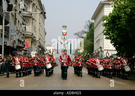 play brass band ceremonies ceremony music musical entertain instruments sound blow guardsmen march in step at military - Stock Photo